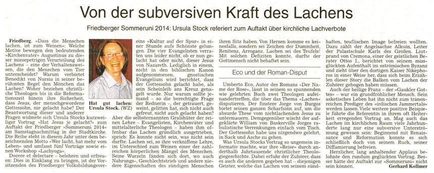 Ursula Stock: Von der subversiven Kraft des Lachens, WZ 08.08.2014, Text: Gerhard Kollmer, Foto: WZ