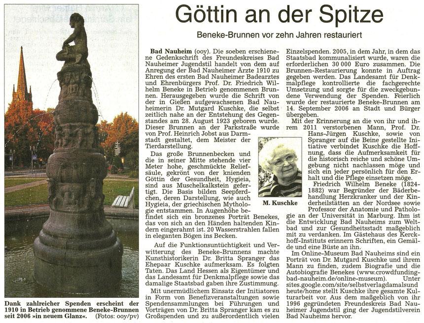 Göttin an der Spitze, WZ 28.09.2016, Text: Beatrix van Ooyen, Fotos: privat und Beatrix van Ooyen