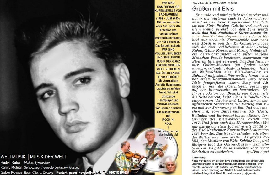 Aktion: Grüßen mit Elvis, WZ. 25.07.2015, Text: Jürgen Wagner