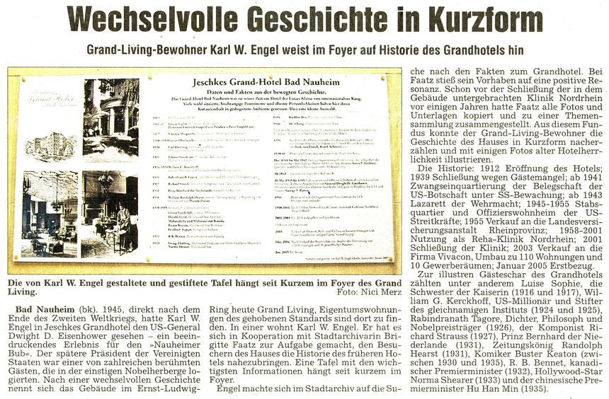Grand Hotel/Grand Living: Welchselvolle Geschichte, WZ 02.02.2007, Text: Bernd Klühs, Fotos: Nici Merz