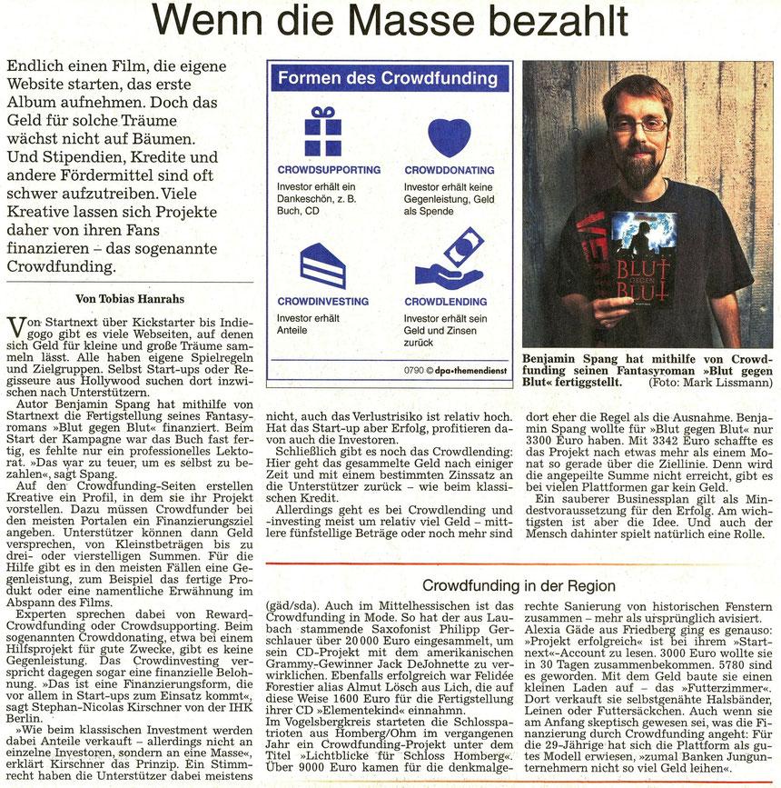 Crowdfunding - Wenn die Masse bezahlt, WZ 03.02.2016, Text: Tobias Hanrahs, Foto: Mark Lissmann, Grafik: dpa-themendienst
