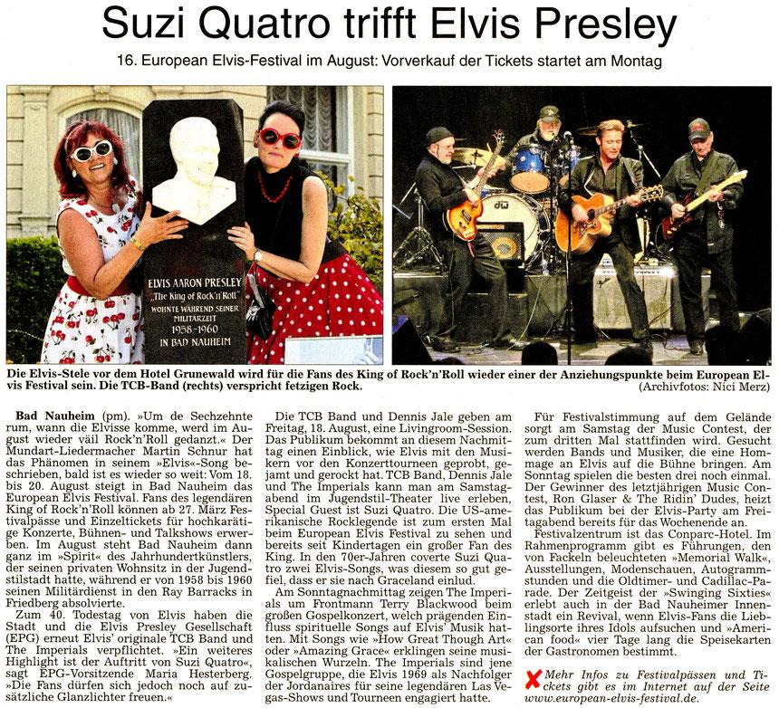 16. European Elvis-Festival: Suzi Quatro trifft Elvis Presley, WZ 25.03.2017, Text: pm, Fotos: WZ-Archiv und Nici Merz