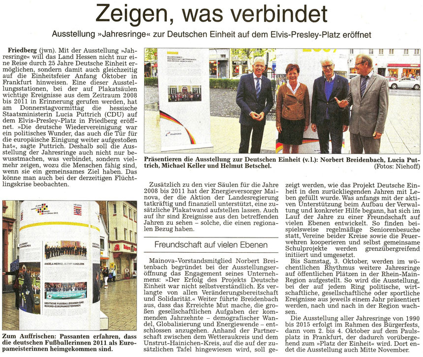 """Elvis-Presely-Platz Friedberg und Deutsche Einheit: """"Zeigen, was verbindet"""", WZ 19.09.2015, Text: jwn, Foto: Niehoff"""