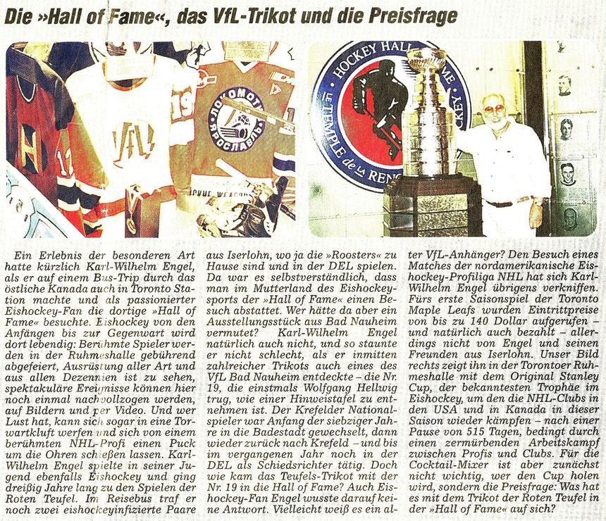 Eishockey Bad Nauheim in Hall of Fame, Toronto/Canada, WZ 15.10.2003
