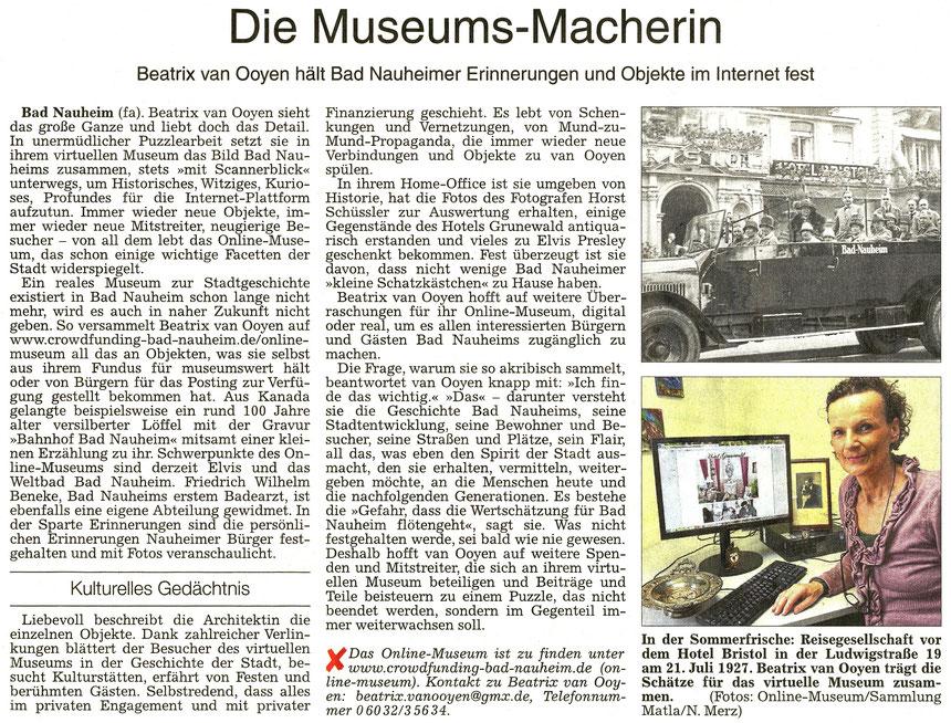 Die Museums-Macherin, Wetterauer Zeitung, 27.04.2016, Text: Frauke Ahlers, Foto: Nici Merz