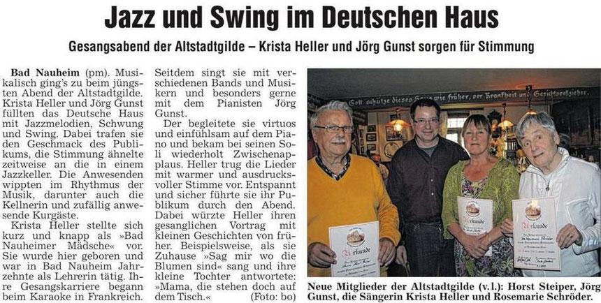Musikalischer Vortrag von Krista Heller und Jörg Güst zum 3. Geburtstag der Altstadtgilde, WZ 31.05.2013, Foto: Eberhard Bogdoll