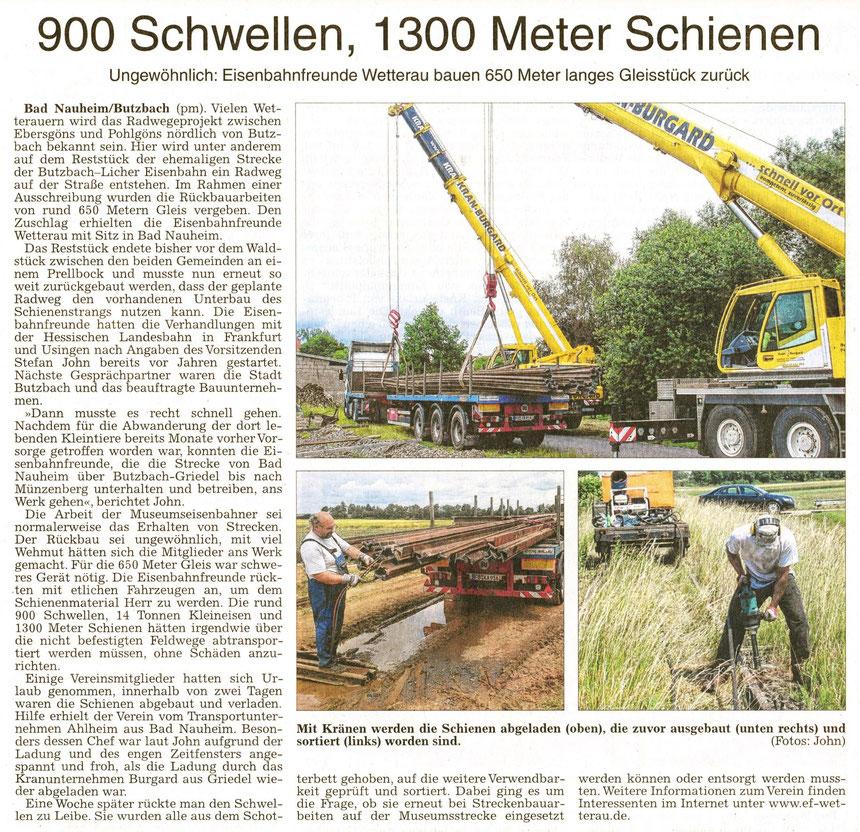 Eisenbahnfreunde: 900 Schwellen, 1300 Meter Schienen, WZ 27.06.2014, Text: pm, Fotos: Stefan John