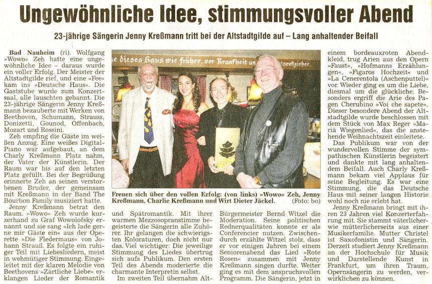 Musikalischer Vortrag von Jennifer Kreßmann, WZ 04.12.2012, Foto: Eberhard Bogdoll