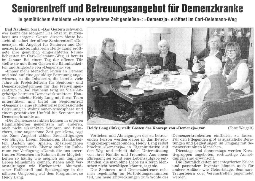 Betreuung für Demenzkranke, WZ 28.04.2012, Text und Foto: Corinna Weigelt