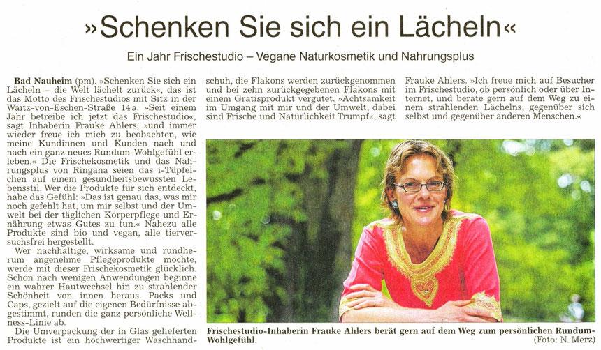 Frauke Ahlers: Schenken Sie sich ein Lächeln, WZ 10.09.2014, Text: pm, Foto Nici Merz