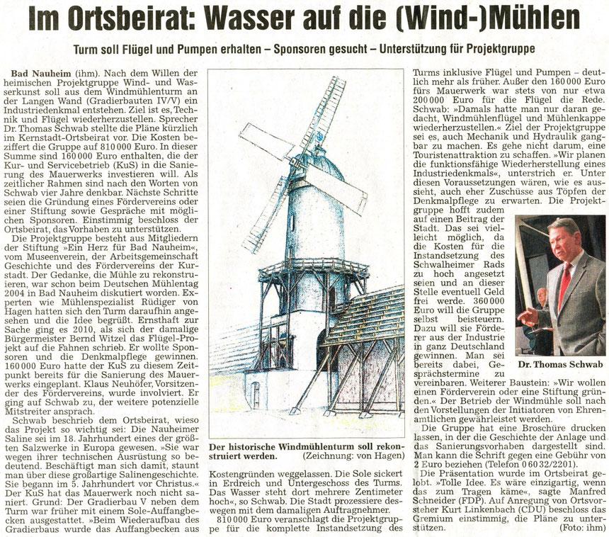 Wind- und Wasserkunst-Vortrag von Dr. Thomas Schwab beim Ortsbeirat, WZ 09.12.2012, Text u. kl. Foto: Petra Ihm-Fahle; Vortrag in Altstadtgilde, Dez. 2013