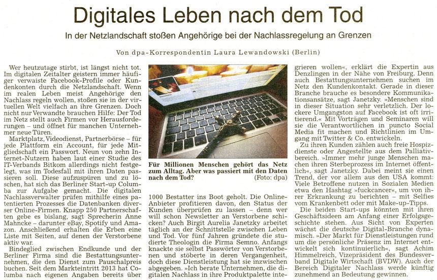 Digitales Leben nach dem Tod - Nachlassregelungen, WZ 11.11.2015, Text: Laura Lewandowski/dpa, Foto: dpa