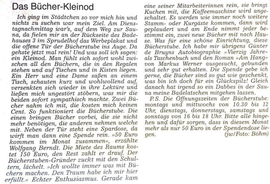 """Bücherstube """"Das Bücher-Keinod"""", WZ 14.09.2014, Text: Jürgen Wagner, Foto: böhm"""