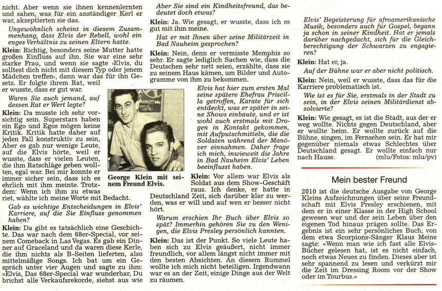 George Klein: Elvis wusste, dass ich es gut mit ihm meine, WZ, 20.08.2016, Text: Matthias Luft, Foto: privat