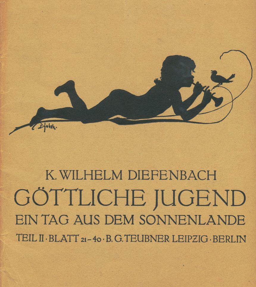 """K. Wilhelm Diefenbach, B.G. Teubner Verlag, Leipzig, """"Göttliche Jugend"""", 20 Schattenbilder, um 1900, Schenkung"""