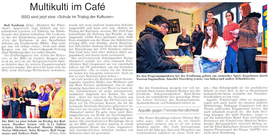 Kooperation mit dem Café der Kulturen in Bad Nauheim, WZ 18.12.2014, Text und Fotos Petra Ihm-Fahle