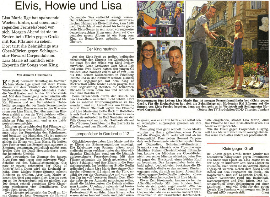 Elvis, Howie und Lisa, WZ 16.10.2015, Text: Annette Hausmanns, Fotos: i&u TV Produktion/NDR/Thorsten Jander