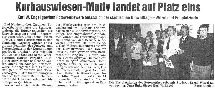 Kurhauswiesen-Motiv von Karl Wilhelm Engel landet auf Platz eins, WZ 13.11.2003, Foto und Text: Eberhard Bogdoll.