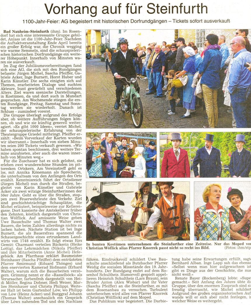 1100 Jahr-Feier in Steinfurth, WZ 20.05.2014, Text Petra Ihm-Fahle, Fotos stp