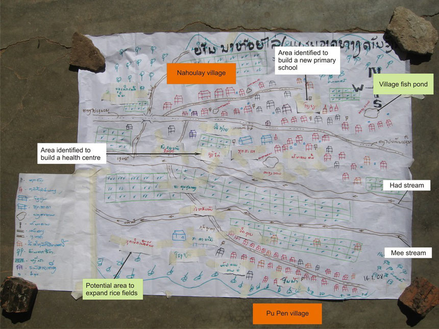 Picture 12: Village Social Map prepared by a group of men in Nahoulay village, Thapangthong district, Lao PDR (2007)