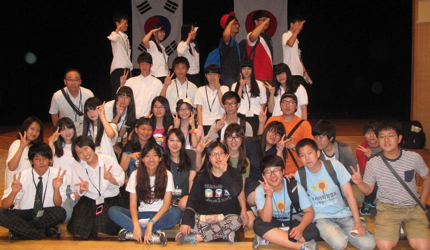 ▲제5회 한일중고생포럼(2014년7월, 일본 시마네현)