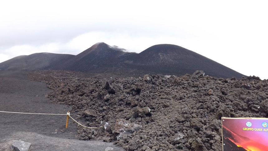 La colata di lava del 27 aprile 2013 ripresa il 15 settembre 2013 da Giorgio Costa. Si nota come il flusso abbia oltrepassato i paletti e si sia arrestato poco dopo