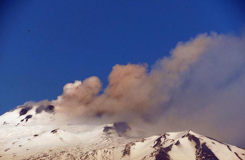 Deboli quantità di cenere prodotte dalla Voragine nella tarda mattina del 15 febbraio 2014. Foto ripresa da Antonio Di Caudo