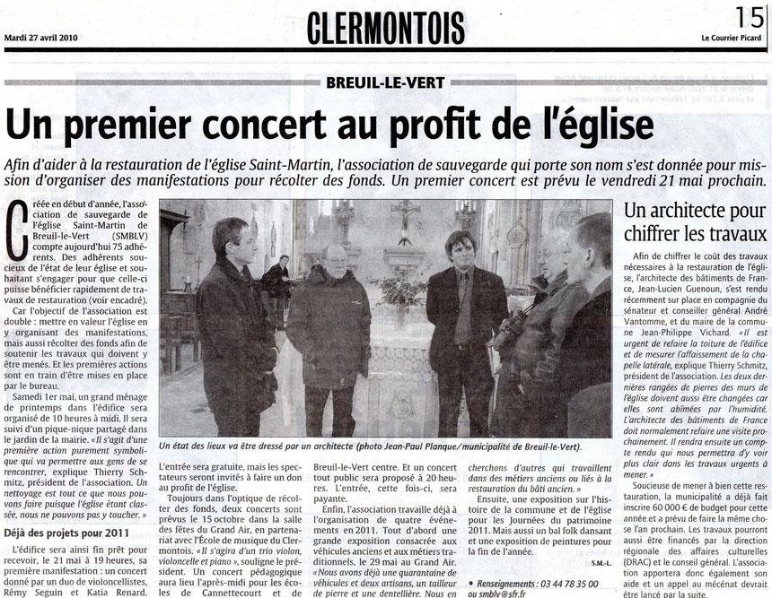 27 avril 2010 - Le Courrier Picard - un premier concert au profit de l'église Saint Martin de Breuil le Vert.