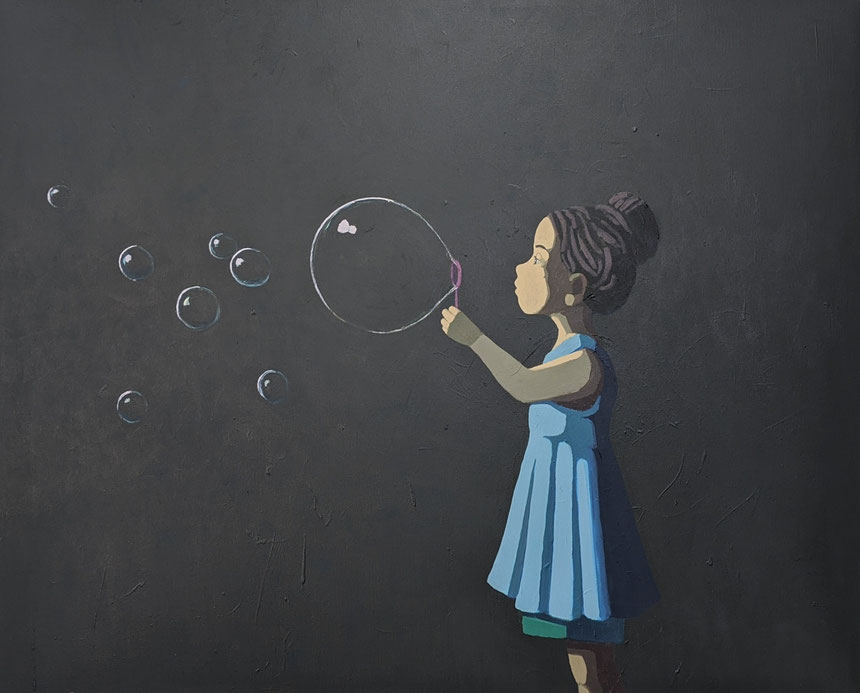 bubble challenge - Acryl auf Leinwand, 100x120cm, 2020