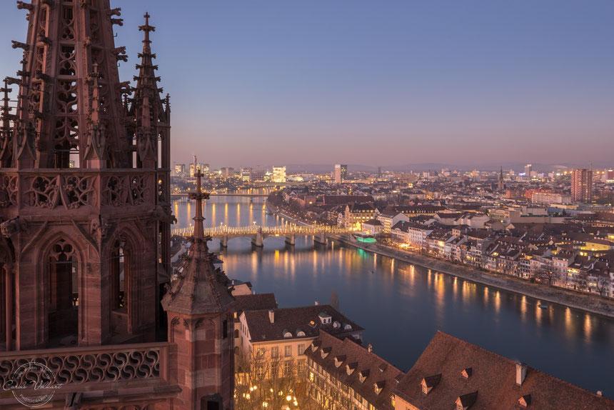 Georgsturm, Martinsturm, Basler Münster, Panorama, Rhein, nächtliche Turmbesteigung, Sonnenuntergang, Lichtermeer
