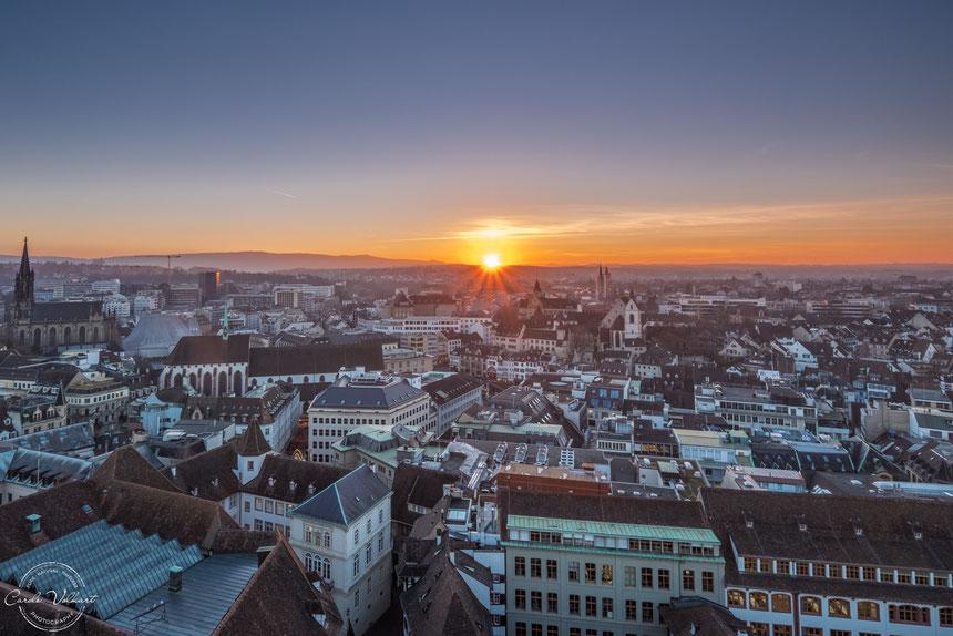 Martinsturm, Basler Münster, nächtliche Turmbesteigung, Sonnenuntergang über Basel, Barfüsserplatz, Elisabethenkirche, Barfüsser Kirche