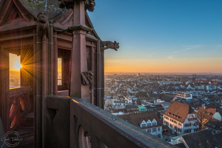 Martinsturm, Basler Münster, nächtliche Turmbesteigung, Sonnenuntergang, Basel