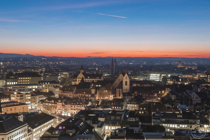 Martinsturm, Basler Münster, nächtliche Turmbesteigung, Sonnenuntergang, Abendrot, Barfüsserplatz
