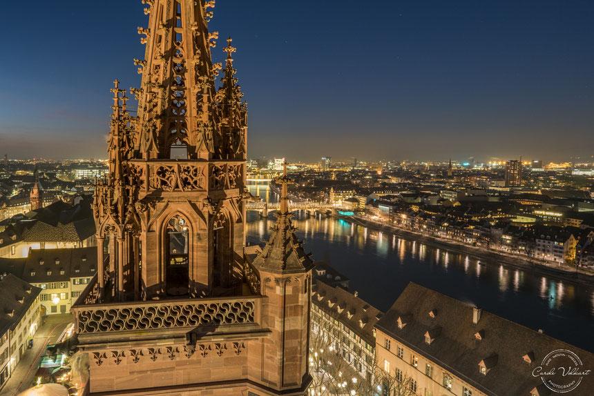 Martinsturm, Georgsturm, Basler Münster, Mittlere Brücke, Rhein, nächtliche Turmbesteigung, Sonnenuntergang, blaue Stunde, grosser Wagen, grosser Bär, Sternenfotografie