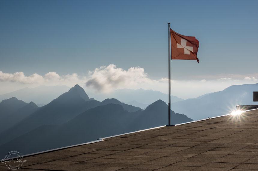 Aussicht von der Berghaus-Terrasse vom Berghaus Rothorn Kulm