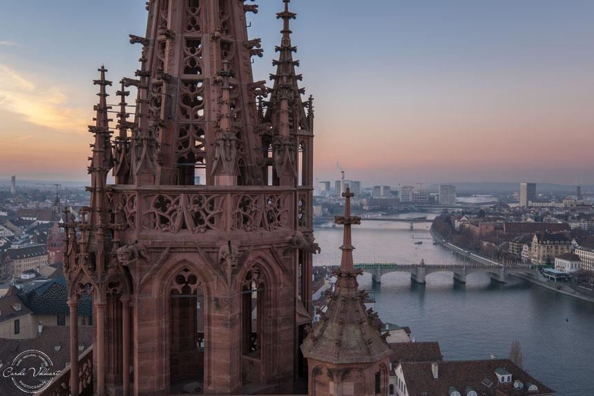 Georgsturm, Martinsturm, Basler Münster, Rhein, nächtliche Turmbesteigung, Sonnenuntergang, Abendstimmung in Basel