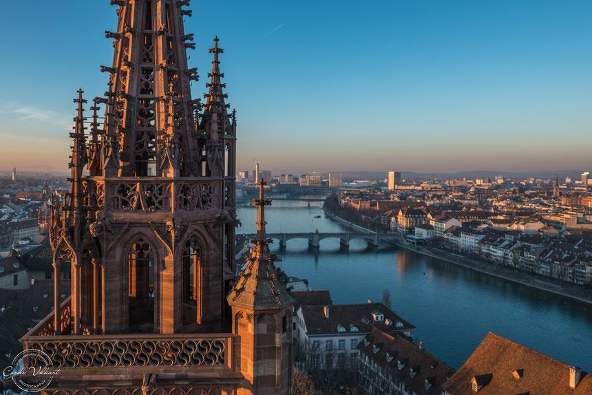 Georgsturm, Martinsturm, Basler Münster, Rhein, Basel, nächtliche Turmbesteigung, Mittlere Brücke