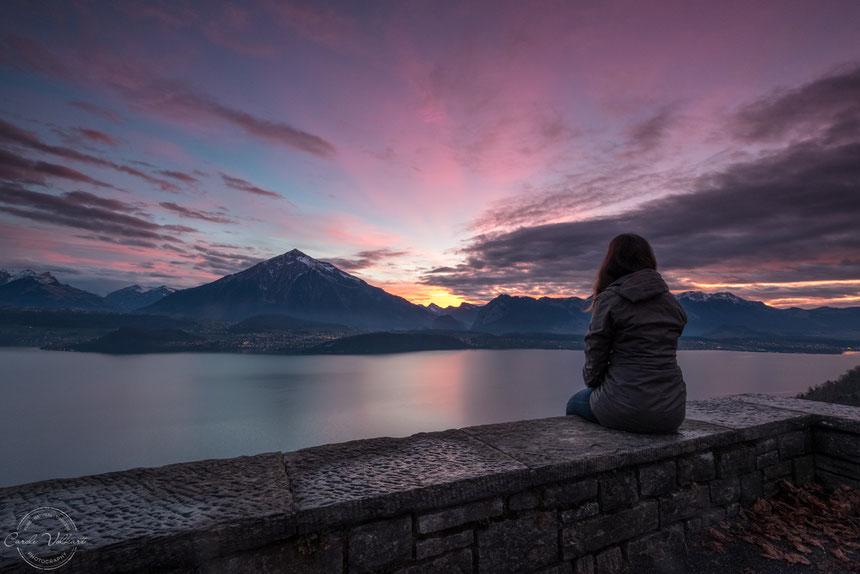 Niesen, Thunersee, Thun, Abendrot, Sonnenuntergang, Berge, Alpen, Schweizer Alpen, Spiez, Sigriswil