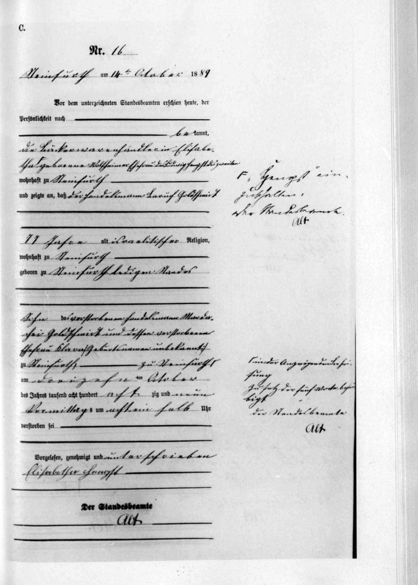 Quelle: Lagis Hessen, Hessische Geburten-, Ehe-, Sterberegister, Steinfurth, Seite 100