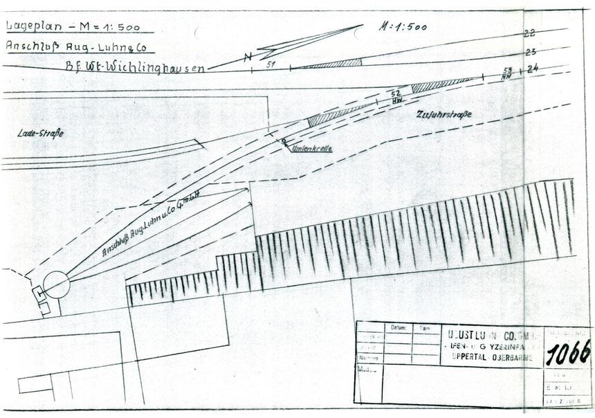 Eine Übersichtszeichnung der Gleisanschlussanlage.