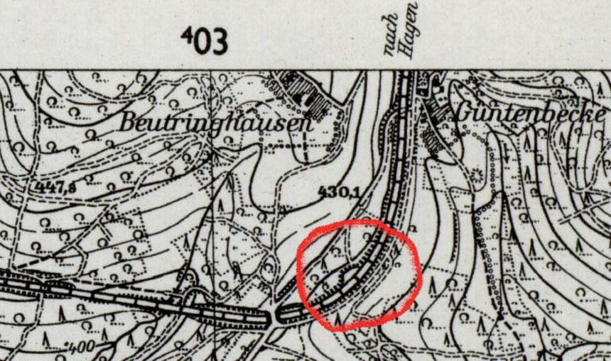 Auszug einer Topografischen Karte Blatt 4911 Gummersbach von 1955; http://contentdm.lib.byu.edu/cdm/search/collection/GermanyMaps/searchterm/4911/order/title