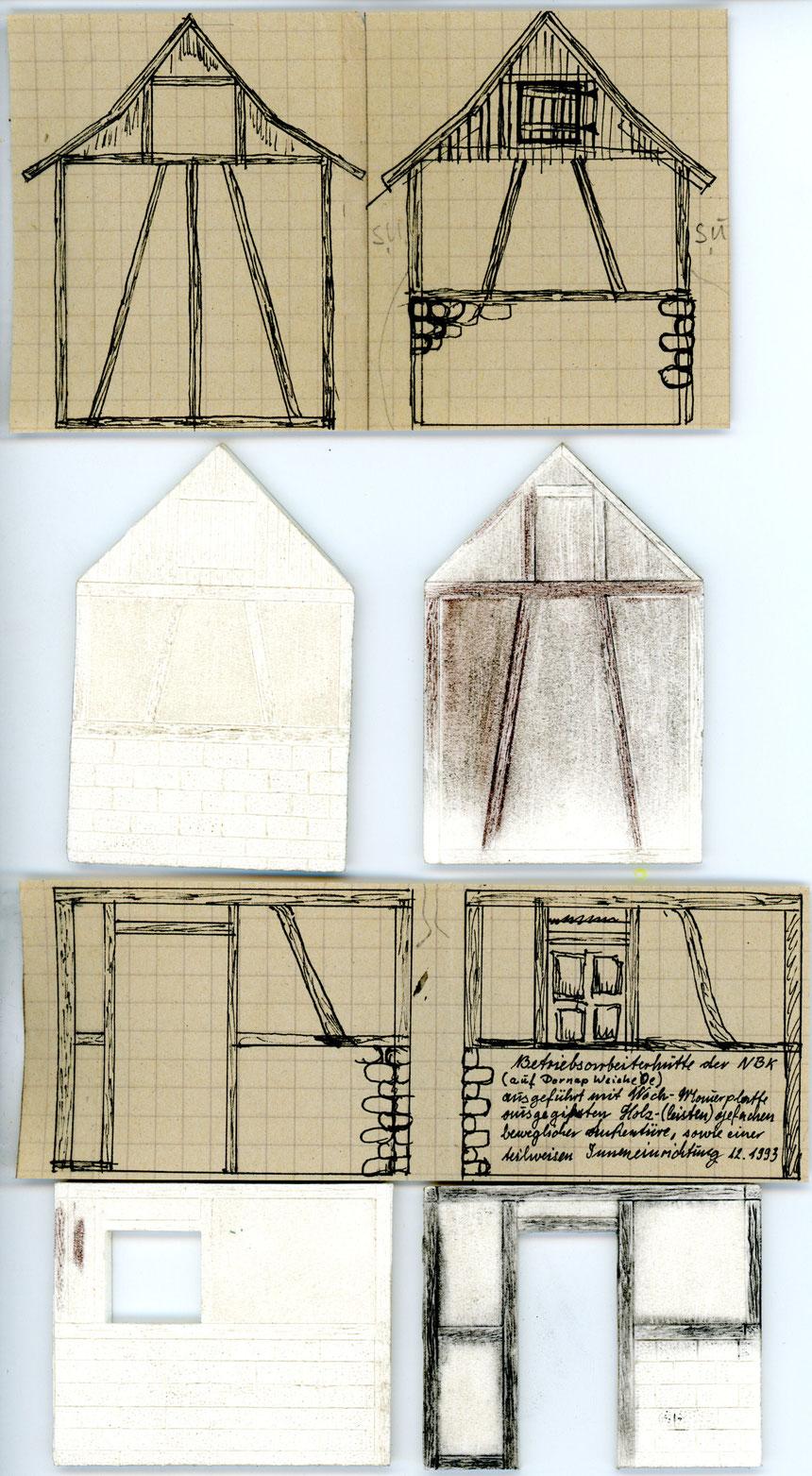 Der Scan zeigt sowohl die antquarische Konstruktionszeichnung, als auch die Hartschaumplatten.