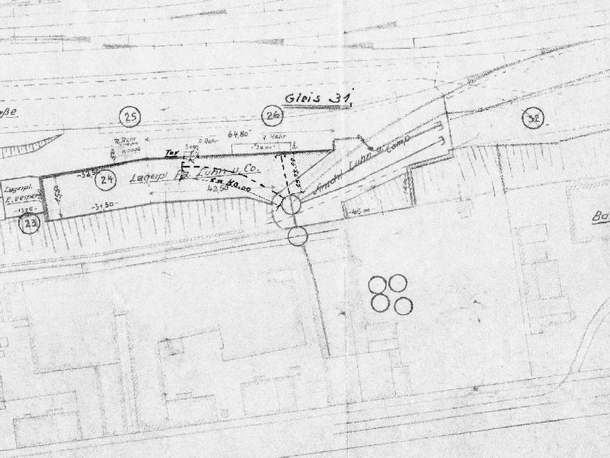 Aus einem Bahnhofsplan des Bahnhofs Wichlinghausen aus dem August 1942 ein Auszug mit der Drehscheibenansammlung der Firma Luhn & Co.