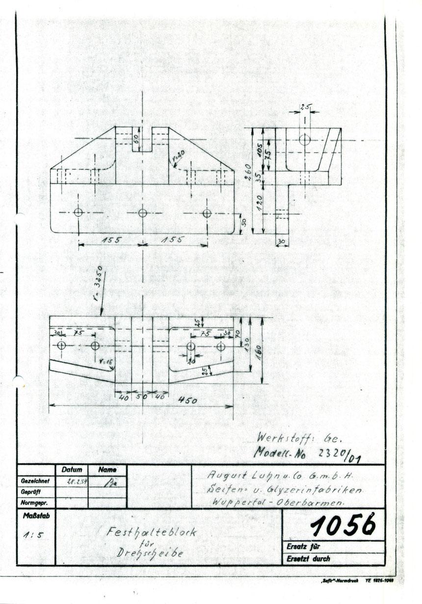 Detailzeichnung für die Festlegung der Drehscheiben.