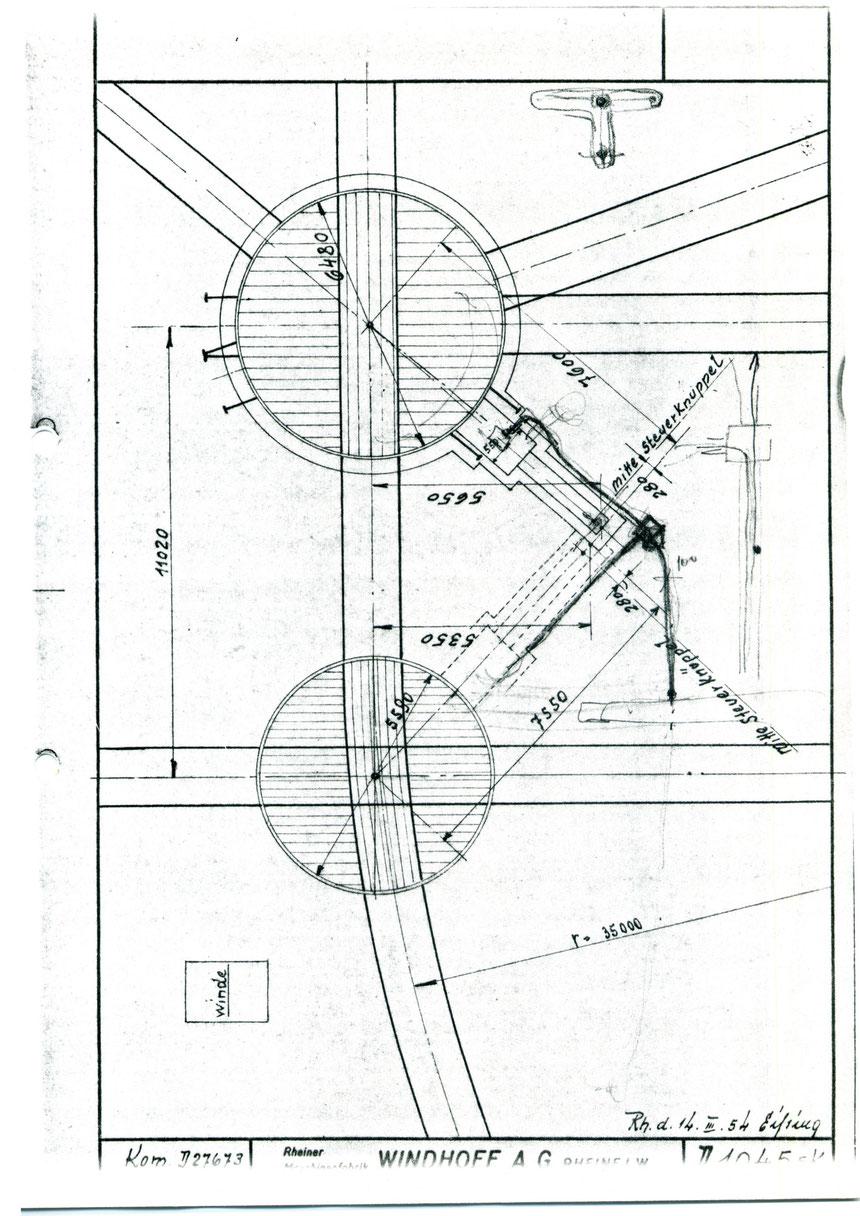 Im Jahre 1954 waren wohl Verbesserungen oder ein Neubau der Anlagen geplant, welche diese Detailzeichnungen der Firma Windhoff AG aus Rheine zeigen. Hier die Bemaßungen der beiden Drehscheiben.