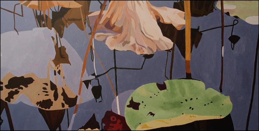 travail en cours, lotus sacrés P, acrylique sur toile, 120 x 60 cm