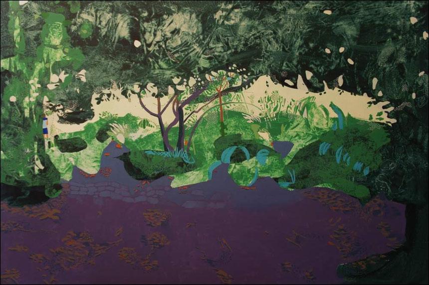 jardin d'Eden IV, acrylique sur toile, 130 x 89 cm.
