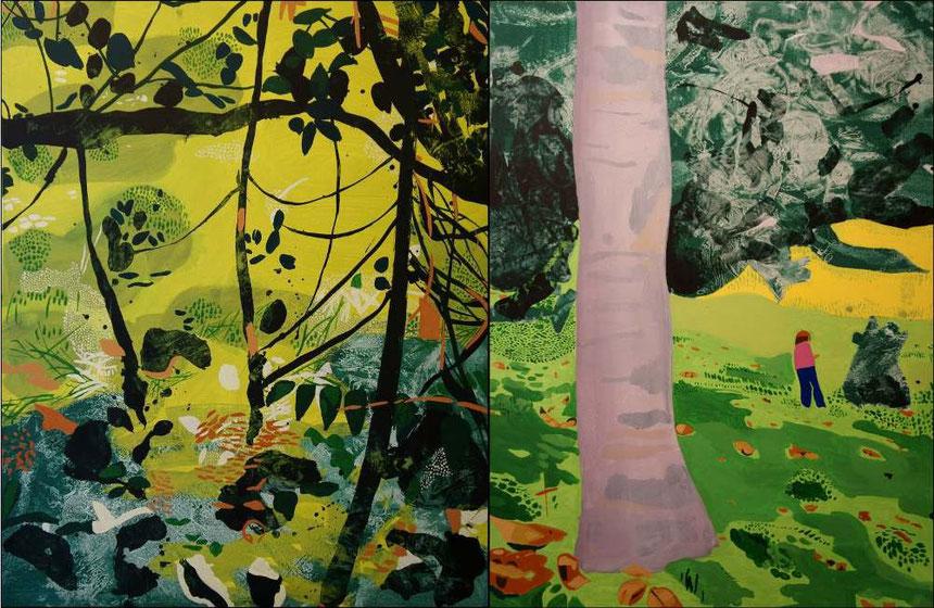 Jardin D'Eden III, diptyque, acrylique sur toile, 154 x 100 cm