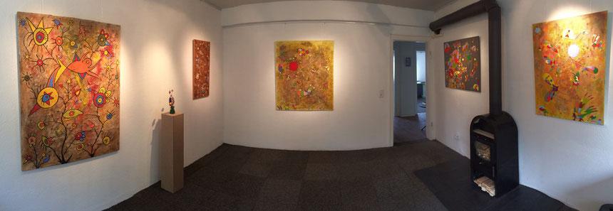 Raum 1 tOG, tOG, Daniel Kho, WELT DER TRÄUME, moderne Kunst, Ethno Pop, Happy Art, Düsseldorf, Lohausen, take OGG GALLERY, NRW, FAirport, Flughafen