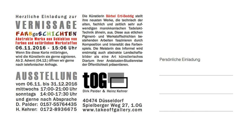Einladungskarte, Rückseite, FARBgeSCHICHTEN, Bärbel Ertl-Beddig, Ertl, Künstler, tOG, takeOFFGALLERY, Düsseldorf, Duesseldorf, informelle Kunst,